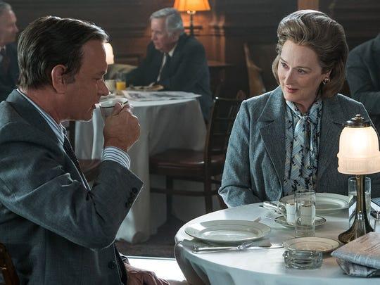 Meryl Streep, right, plays Katharine Graham, publisher of the Washington Post. Tom Hanks plays Editor Ben Bradlee.
