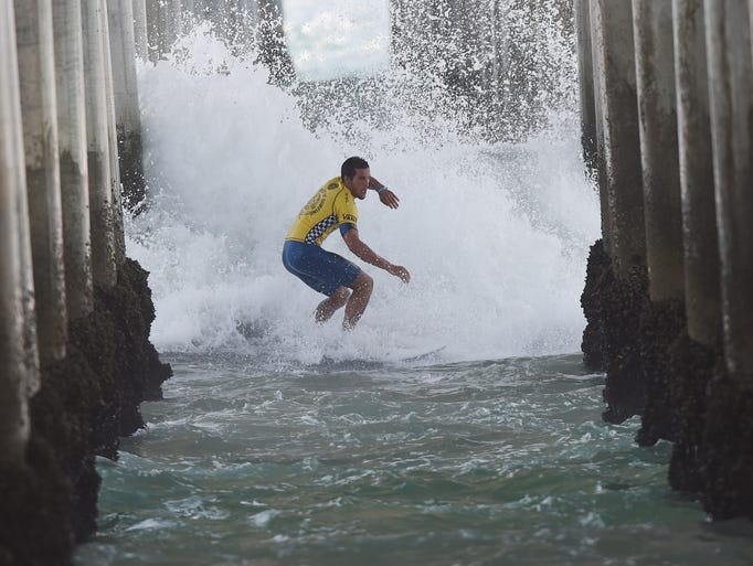 Professional surfer Ian Gouveia 'Shoots the Pier' during