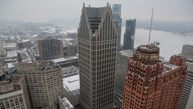 The One Detroit Center building is seen at center in February 2015.