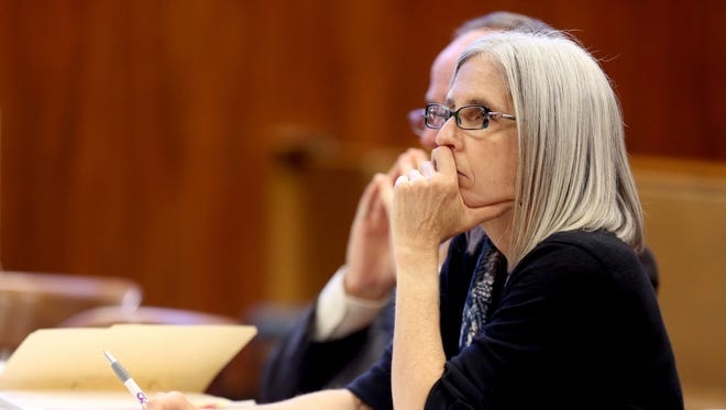 Barbara Osterud listens during her sentencing hearing at the Marion County Circuit Courthouse in Salem on Monday, Nov. 2, 2015.