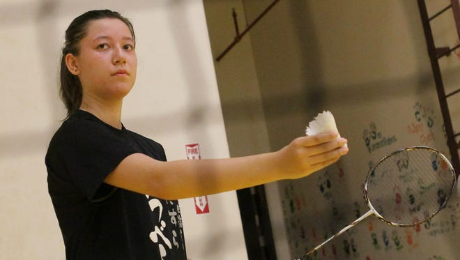 In this file photo, Michelle Kremper prepares to serve against an opponent during a friendly badminton game of the Guam National Badminton Federation. Kremper is part of a Guam team competing in the Oceania Mixed Team Championships in Auckland, New Zealand.