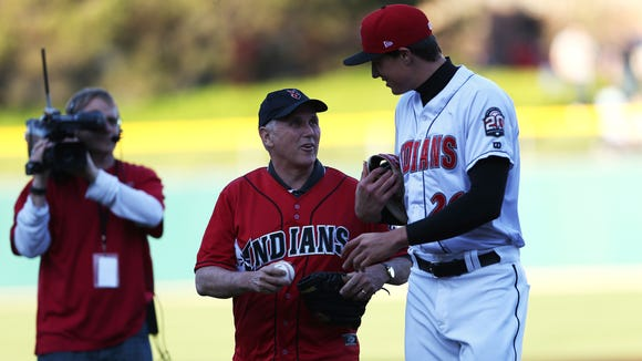 Indiana Gov. Mike Pence talks to Indianapolis Indians