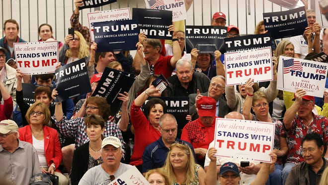 Supporters of Donald Trump before the rally, Indiana State Fairgrounds, Indianapolis, Wednesday, April 20, 2016.