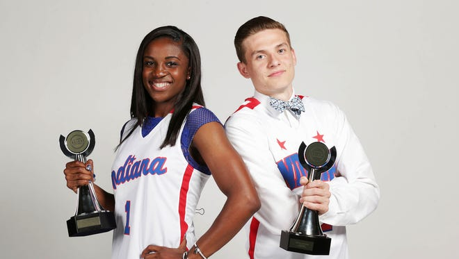 From left, 2016 IndyStar Indiana Miss Basketball Jackie Young and 2016 IndyStar Indiana Mr. Basketball Kyle Guy pose together after the IndyStar High School Sports Awards, Lucas Oil Stadium, Indianapolis, Thursday, April 28, 2016.