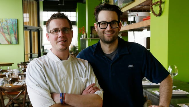 Executive Chef Doug Hewitt, left, and proprietor/front-of-the-house manager Sandy Levine. The restaurant Chartreuse Kitchen & Cocktails inside the Park Shelton in Detroit.