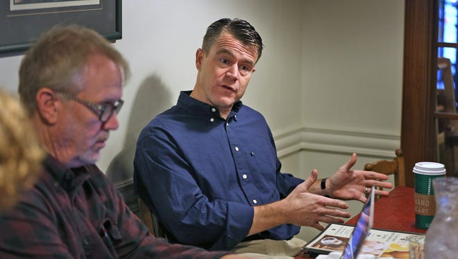 Todd Young speaks to print media at downtown's Le Peep Restaurant, Wednesday, November 9, 2016, the morning after winning his US Senate election, defeating Evan Bayh.