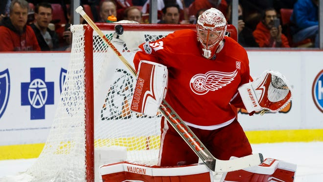 Red Wings goalie Jared Coreau makes the save in the second period of the Wings' 1-0 win over Montreal on Monday, Jan. 16, 2017 at Joe Louis Arena.