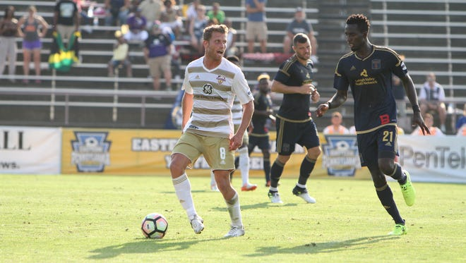 Guy Abend controls the ball for Louisville City FC in Sunday's game at Bethlehem Steel FC. Aug. 20, 2017