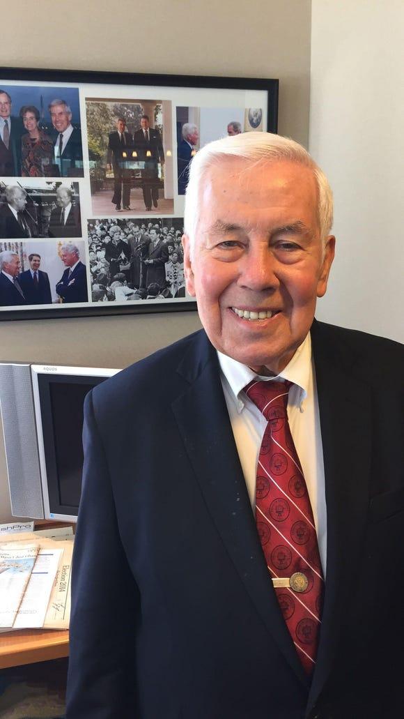 Former Sen. Richard Lugar in his office at The Lugar Center on June 12, 2015.