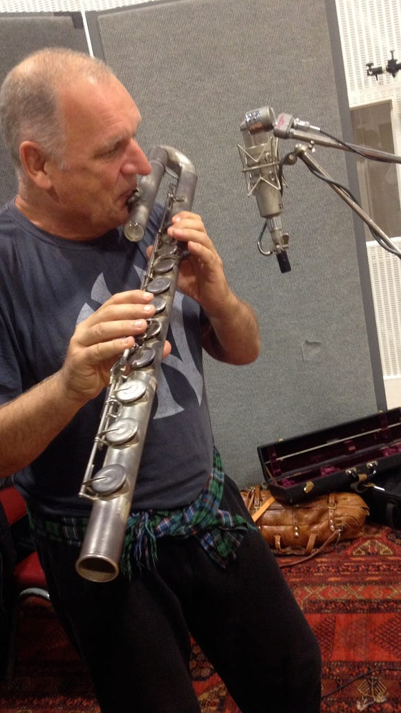 Dave Heath on Bass Flute at UNCLE session_photo credit Amelia Pemberton