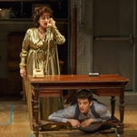 "Patti LuPone, left, and Michael Urie perform in ""Shows for Days."" LuPone caught someone texting during her show and swiped the phone out of the audience member's hand."