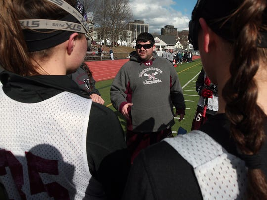Morristown girls lacrosse head coach Evan Mager during their girls lacrosse scrimmage vs Sparta. March 17, 2015. Morristown, N.J. Bob Karp/Staff Photographer.