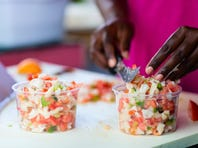 Preparing a conch salad