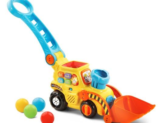 The Pop-a-Balls Push & Pop Bulldozer entertains litle