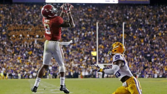 Alabama senior receiver Blake Sims caught the game-winning touchdown in Saturday night's 20-13 win at LSU.