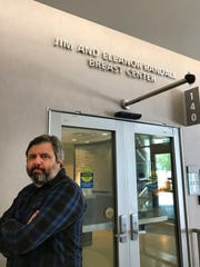 This July 13, 2017 photo provided by Lisa Granados shows Associated Press reporter Andrew Dalton standing outside the Jim and Eleanor Randall Breast Center in Pasadena, Calif. Dalton described his experience as the rare man who underwent a mammogram in a story for the AP. (Lisa Granados via AP)