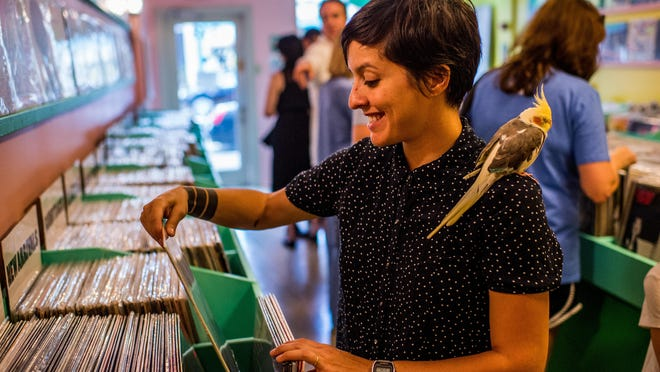 Store co-owner Tess Brunet, joined by her pet cockatiel Agnes, sorts records on a shelf at Lagniappe Records in downtown Lafayette, Friday, Aug. 7, 2015. Owners Tess Brunet and Patrick Hodgkins moved the business from Baton Rouge and opened the downtown location on Friday, Aug. 7.
