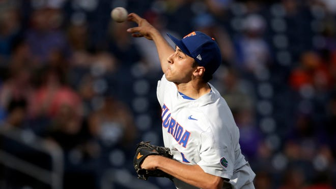 Tigers' first-round pick Alex Faedo fanned 11 and gave up three hits in 7.1 innings against TCU in Saturday's College World Series win.