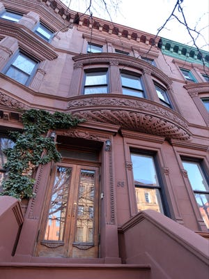 The exterior of the former home of Maya Angelou at 58 West 120th street in New York, Feb. 2, 2016. The historic brownstone  is on the market and being handled by Bronxville realtor, Valon Nikci of Link NY Realty.