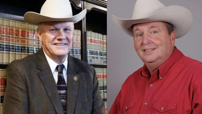 Republican Bastrop County Sheriff Maurice Cook (left) is seeking reelection. Democratic challenger Mike Renck says the office needs a new leader.