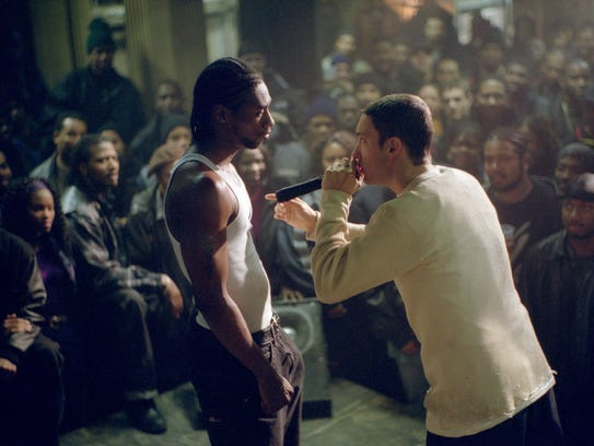 Eminem as B-Rabbit battling rival rapper Lotto (Nashawn