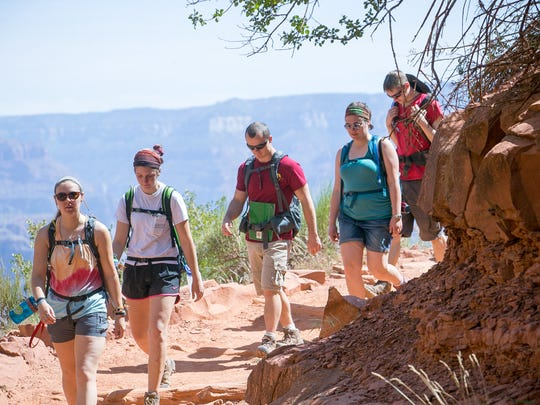 Hikers make their way down the Bright Angel Trail on the South Rim at Grand Canyon National Park on Wednesday, May 13, 2015.