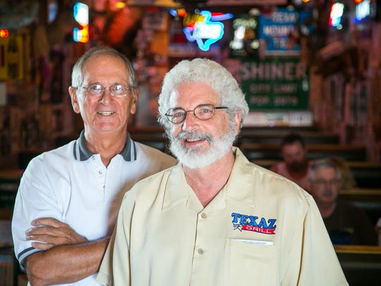 Co-founders of Texaz Grill Jim Mitchell, left, with Steve Freidkin in August 2015.