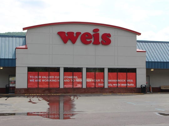 The exterior of the Weis Markets Inc. store in Tunhannock, Pennsylvania, on July 6. Weis is planning to reopen this week, more than a month after a gunman killed three co-workers inside the store before killing himself.