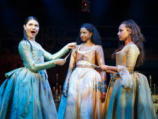 The Schuyler sisters are (left to right) Eliza (Phillipa Soo), Angelica (Renee Elise Goldsberry) and Peggy (Jasmine Cephas Jones). Eliza married Alexander Hamilton.