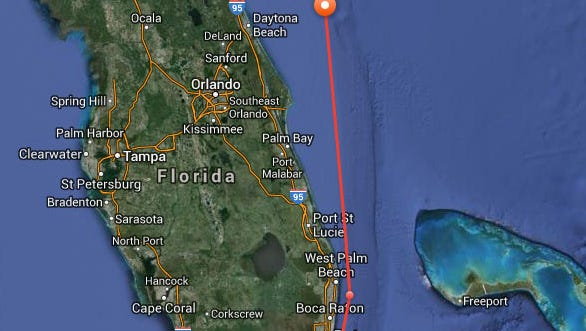 At 11:28 a.m. Monday, Katharine the great white shark pinged well north of the Brevard County coast.
