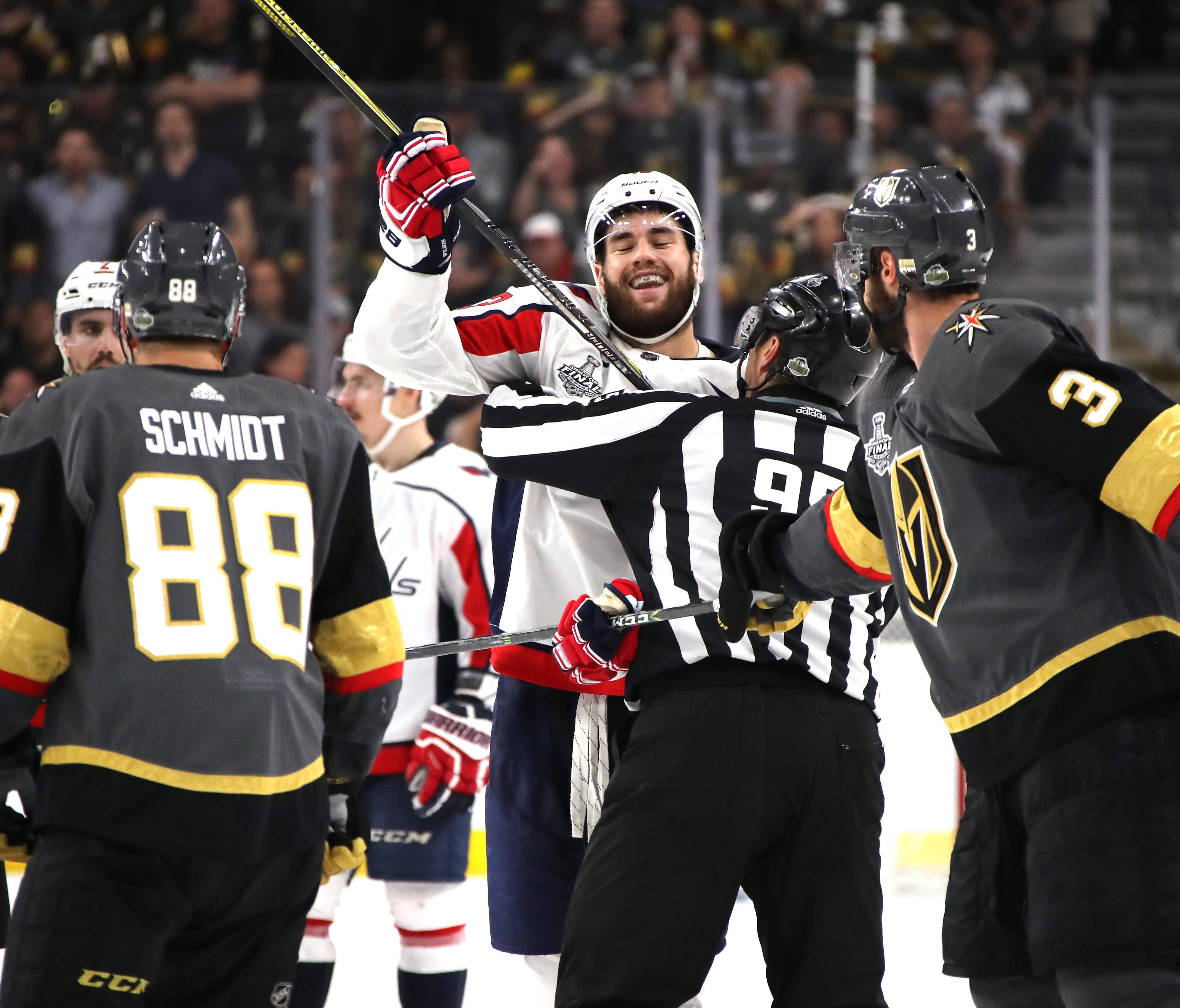 Tom Wilson of the Washington Capitals reacts after the whistle against the Vegas Golden Knights during the third period of Game 1.