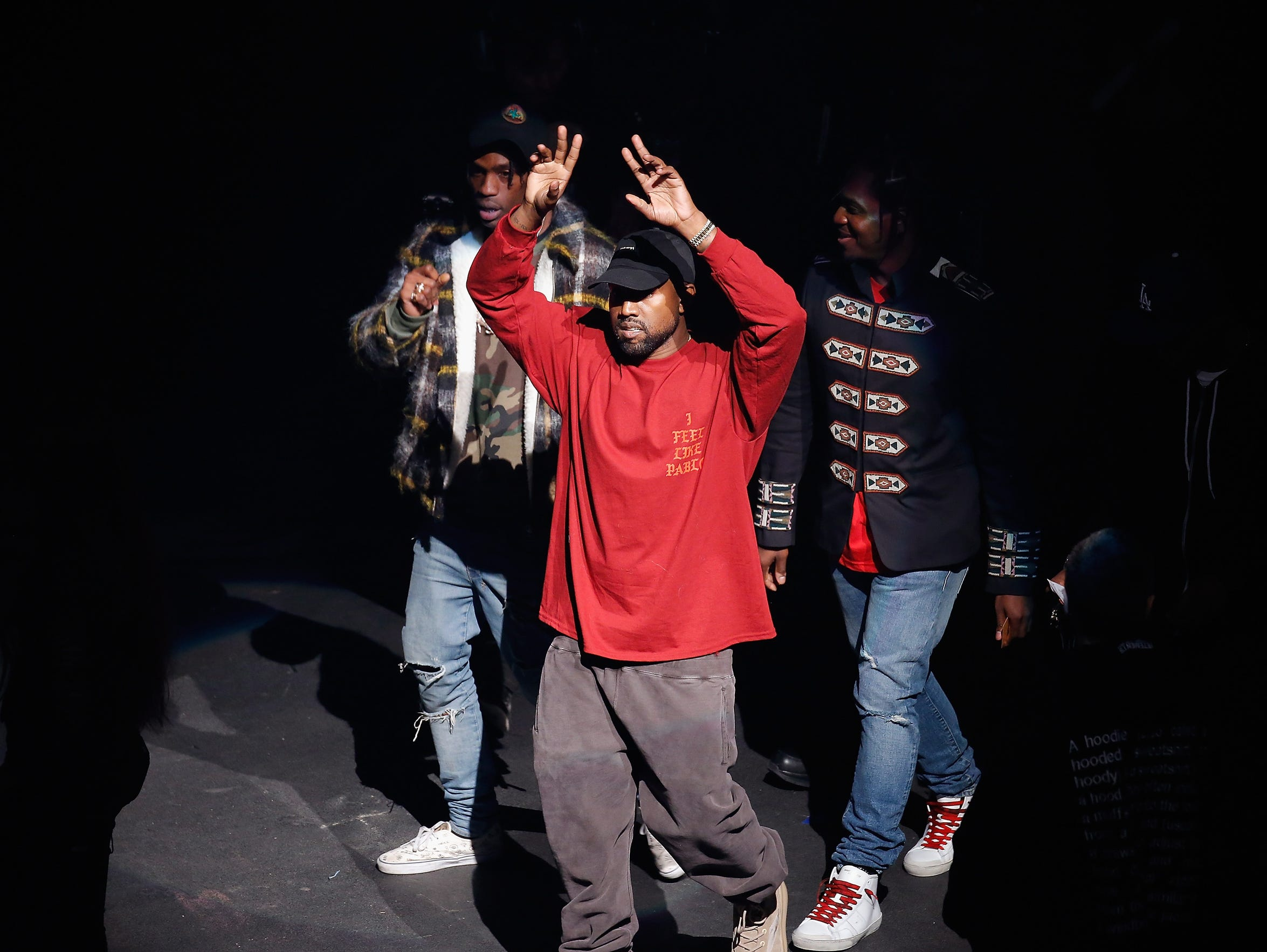 Kanye West performs during Kanye West Yeezy Season