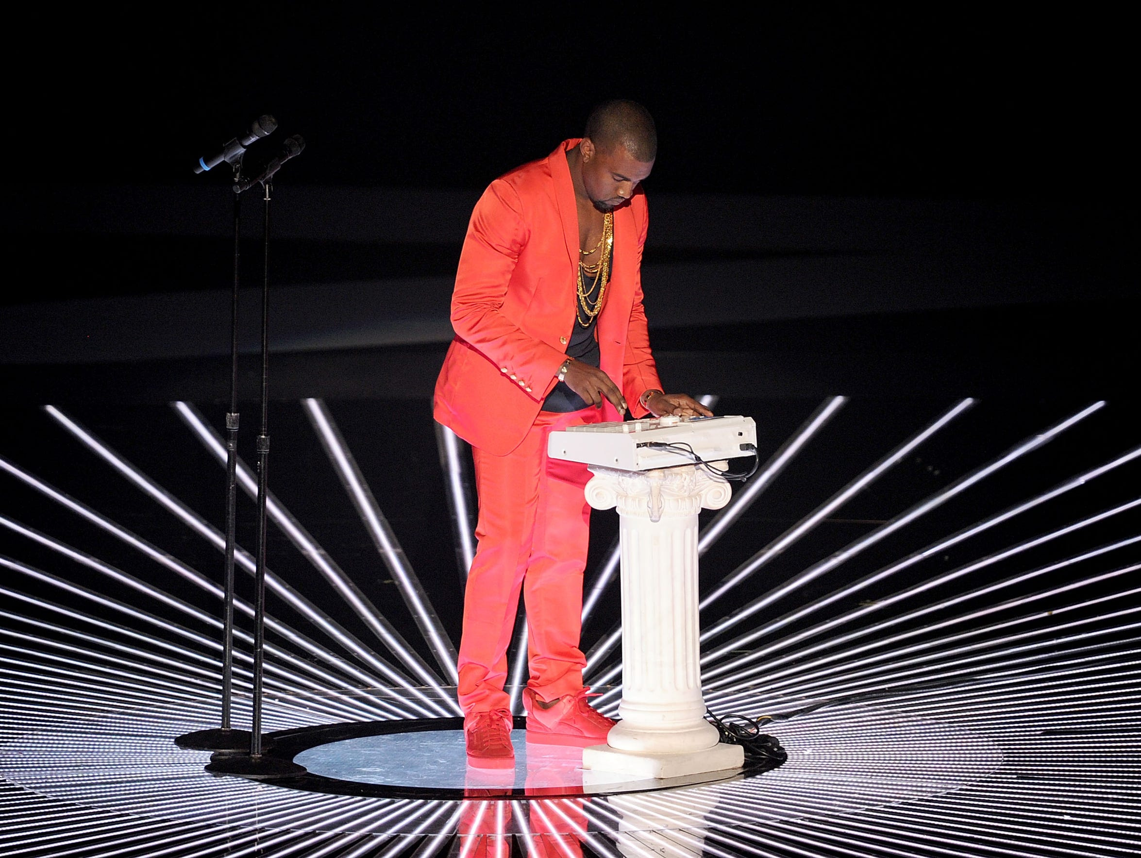 Kanye West performs onstage during the 2010 MTV Video