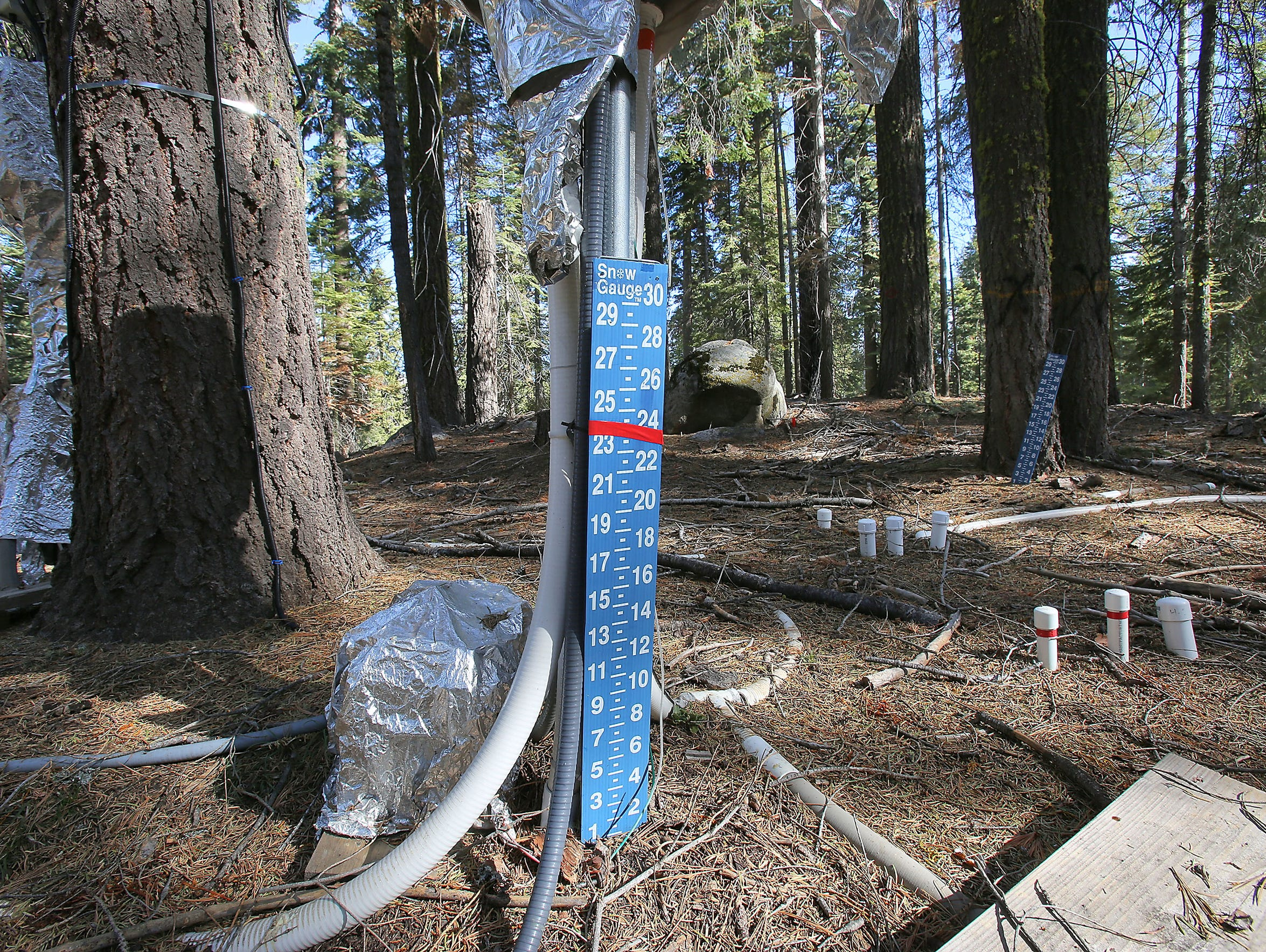 The ground was bare beneath one snow gauge at a research