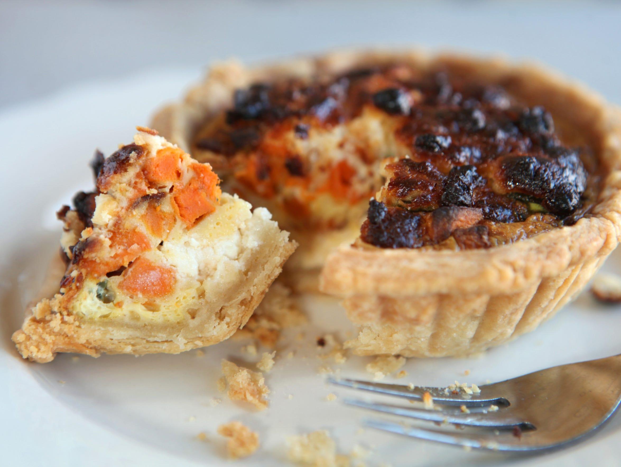 A sweet potato quiche with poblano, queso fresco and