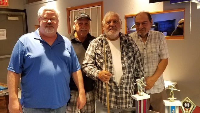 "Friendship pool winners are from left to right: first place Eagles Doug Beard and Larry ""Smitty"" Smith with second place winners VFW members Joe Lujan and Danny Lujan."