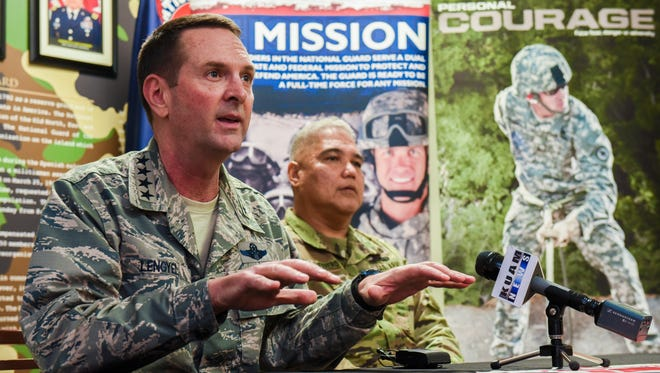 """Gen. Joseph Lengyel, left, Chief of the National Guard Bureau and Joint Chiefs of Staff member, is seated with Guam National Guard Adjutant General Maj. Gen. Roderick Leon Guerrero, during a media engagement at the Guard's headquarter in Barrigada on Saturday, Feb. 3, 2018. Langyel described the Guam Guard as """"a motivated organization, a proud organization, they have a deep service to military and the territory."""" """"It's something that everybody is part to be a part of, I can see it and I can feel it,"""" he added. Lengyel met earlier with soldiers of the Guam Army National Guard unit and is scheduled to meet with the Guard's airmen on Sunday, Feb. 4."""