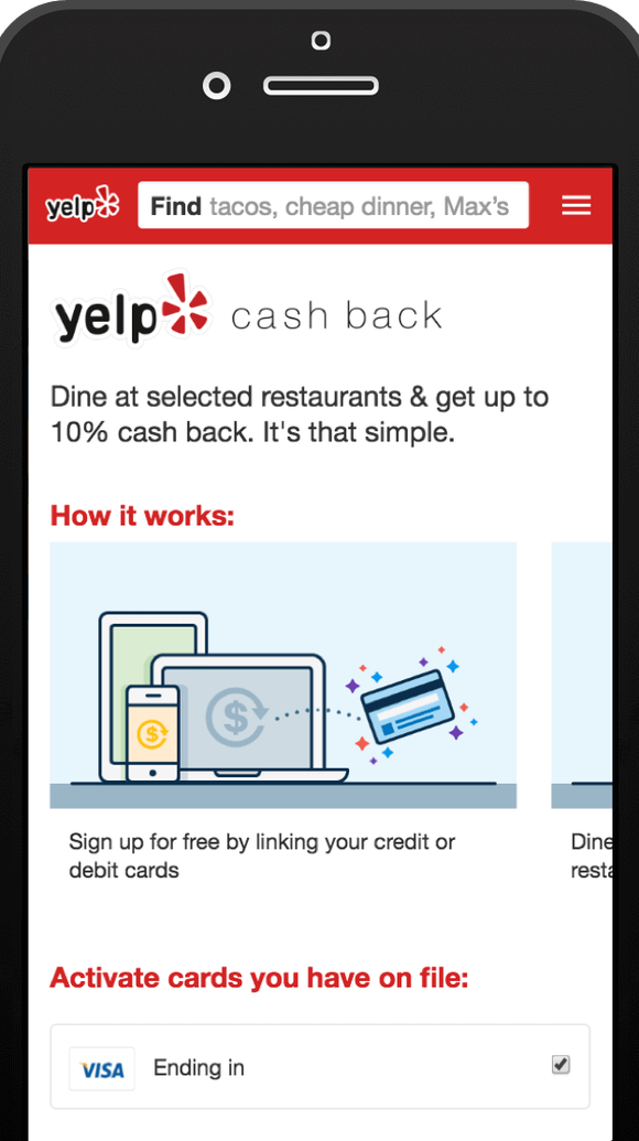 Yelp's new Cash Back program offers discounts of up