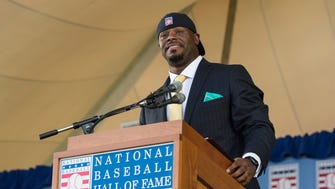 Jul 24, 2016; Cooperstown, NY, USA; Hall of Fame Inductee Ken Griffey Jr. makes his acceptance speech during the 2016 MLB baseball hall of fame induction ceremony at Clark Sports Center. Mandatory Credit: Gregory J. Fisher-USA TODAY Sports ORG XMIT: USATSI-322704 ORIG FILE ID:  20160724_ads_fb5_128.JPG