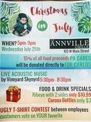 The Annville Grille will donate 15 percent of the proceeds from all food sales to PA Cares for Carlos between 5-9 p.m. on Wednesday, July 25.