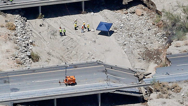 This aerial photo shows the collapsed elevated section