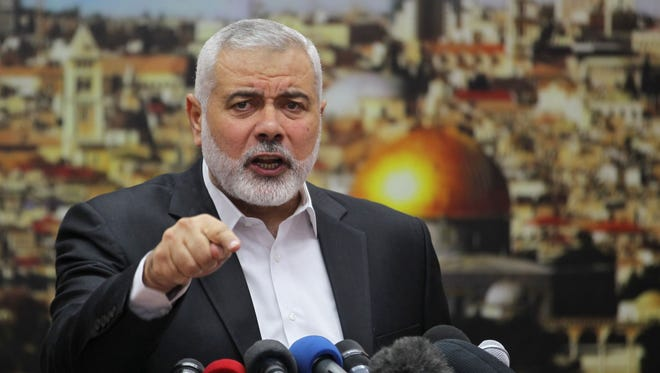 Hamas leader Ismail Haniya gestures as he delivers a speech in Gaza City on Thursday over President Trump's decision to recognize Jerusalem as the capital of Israel