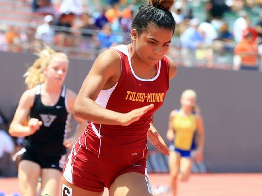 GABE HERNANDEZ/CALLER-TIMES Tuloso-Midway's Azalia Jones compete in the 400 meters during the Region IV-5A Track & Field Meet Saturday, April 30, 2016, at Alamo Stadium in San Antonio.