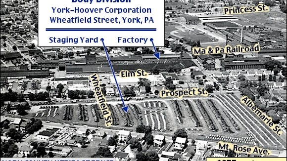 Circa 1955 Aerial View of Body Division of York-Hoover Corporation, Wheatfield Street, York, PA (Collections of the York County Heritage Trust, Annotated by S. H. Smith, 2015)