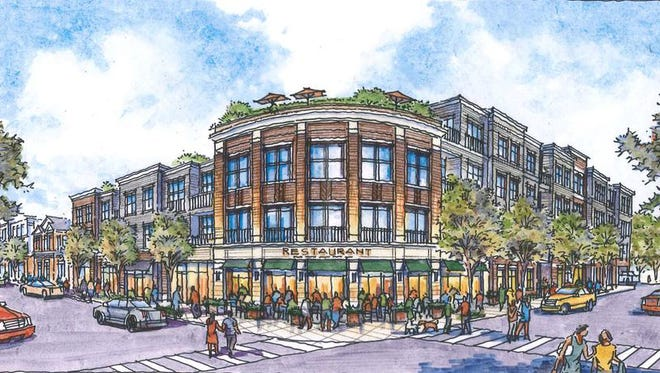 A rendering of the proposed downtown redevelopment project in Emerson.