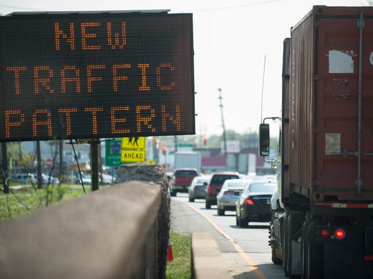 Traffic backs up on Route 130 South, near E. Federal St. in Burlington City, where lanes were narrowed from three to two a year ago.