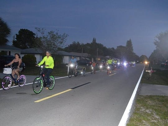 Critical Mass monthly bicycle ride in northeastern Lee County.