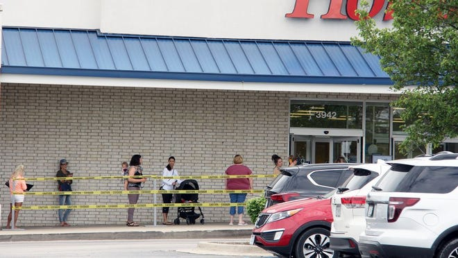 There was a long line of customers waiting to get in when Marshall's opened back up on Thursday in Osage Beach.