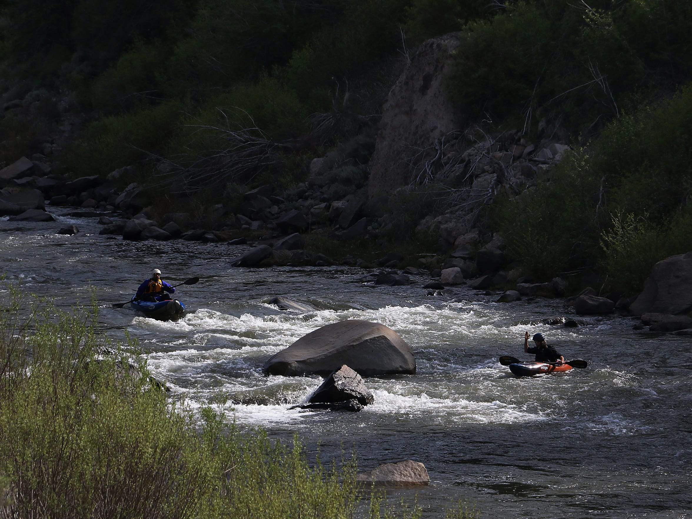 Preparing to run rapids on the Truckee River between Truckee, Calif., and Verdi, Nev. RGJ reporters Ben Spillman and Jason Bean paddle the Truckee River from Truckee to Pyramid Lake during May of 2016.