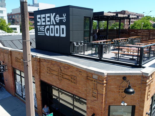 The patio area on the roof of the Good City Brewing